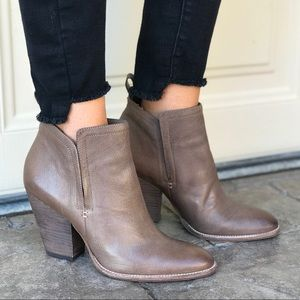 Infinity Taupe Distressed Leather Heel Boot